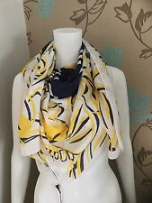 KENZO PARIS FOUR TIGERS 100% MODAL ECRU,LEMON AND NAVY SCARF MADE IN ITALY BNWT