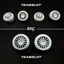 TEAM SLOT 1:32 - 4 WHEELS 15 SPOKES  WHITE - LLANTAS - TIRE - INSERTS
