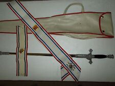 VINTAGE KNIGHTS OF COLUMBUS FRATERNAL CEREMONIAL SWORD, SCABBARD, CASE & SASHES