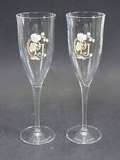 """Perrier Jouet PJ Logo French Crystal Champagne Flute 8"""" Set Of 2"""