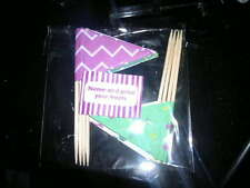 8x CAKE FLAGS green purple NAME & PRICE YOUR TREATS