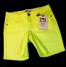 NEW LEI Long Jean Shorts Size 7 Neon Yellow Stretch Cut Off Straight Walk Pants