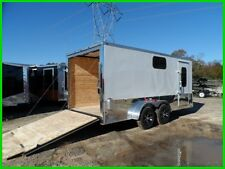 7x16 2' v 18ft inside enclosed cargo motorcycle trailer white 3 windows new