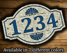 """Address Plaque 9.5""""x14"""" Sea Shell Outdoor House Number Street Address Sign"""
