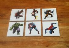 A SET OF 6 SUPER HERO DC & MARVEL CANVAS PICTURES 6 X 6 Each 1