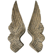 Large Pair Antiqued Gold Angel Wings Retro Vintage Style Decorative Wall Art