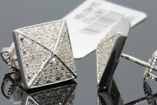 .60 CARAT WHITE GOLD FINISH MENS WOMENS 10mm 100% REAL DIAMONDS EARRINGS STUDS