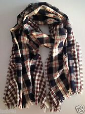 J. Crew Plaid Mix Scarf NWT Wool/Linen Color: Navy, Red