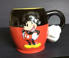Disney Parks Mickey Mouse Coffee Mug Cup 3D Red Black Gold Arm hand handle 16oz