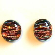 Dichroic Glass Earrings Studs by Frieda Bates / Beadwork of the Southwest