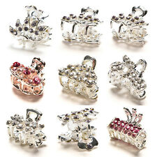 Pop  Sweet Crystal Rhinestone Flower Mini Hair Claws Clips Pin Clamps