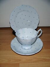 ROYAL ALBERT PIERETTE TRIO ~ Cup Saucer & Plate ~ Blue Polka Dots ~ 1920s ~ RARE