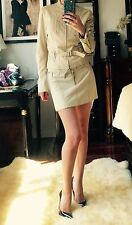 $3000 Plein Sud Beige Leather Jitrois Suit Set Jacket Skirt FR 34 XS 0-2