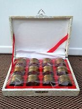 Set Of 12 Vintage Solid Brass Gold Tone Napkin Ring Holders In Original Box