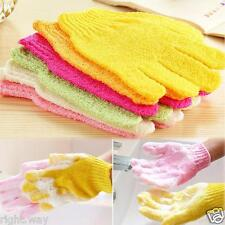 3 x Pair Bath Gloves Scrubber Scrub Back Body Massage Sponge Wash Spa loafah