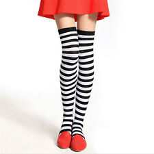 Fashion Women Girls Striped Over Knee Thigh High Stockings Stripy Long Socks New