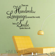 Wall Quote-There are Hundreds of Languages around the world,but a smile speaks..