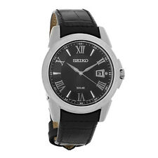 Seiko Solar Le Grand Sport Mens Black Leather Strap Watch SNE397