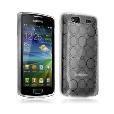 Housse étui coque gel motifs cercle pour Samsung Wave 3 couleur blanc