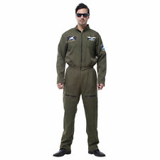 Adulto para Hombre Traje de Vuelo superior uniforme de piloto aviador Deluxe Fancy Dress Costume