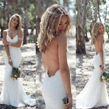 New White/Ivory Lace Bridal Gowns Mermaid Backless Wedding Dresses Custom Size