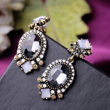 Vogue Fashion Charm Resin Leaves Dangle Pearl Earrings Crystal Flower Ear Stud