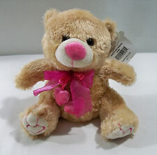 "TEDDY BEAR Pink Bow Heart Valentine Toy Child Soft Plush Cuddly Stuffed 7"" Tan"