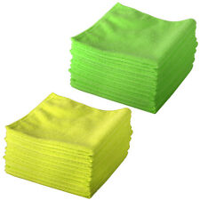 20 Microfibre Cloths Chemical Lint Free Valeting Windows Cleaning Green & Yellow