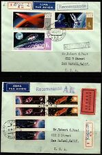 Russia  Two 1967 Airmal Space Registered covers to California