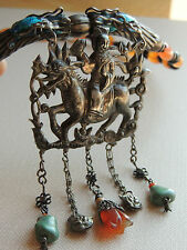ANTIQUE CHINESE SILVER KYLIN NECKLACE SILVER ENAMEL DRAGONS