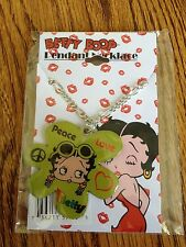 "CUTE ENAMEL"" BETTY BOOP "" PENDANT W/ 18"" SILVER PLATED CHAIN NECKLACE New"