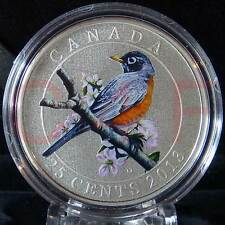 2013 - Canada - Birds of Canada #11 - American Robin - 25 cent Coloured Coin