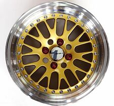 GOLD AVID1 AV-12 15X8 +15 OFFSET 4X100 W/ TIRES FREE COLORED LUGS EF EG EK