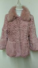 new design real deep pink fox +_rex rabbit  fur coat full pelt