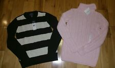 NWT Turtleneck Sweater Croft & Barrow Chaps Women's SMALL Stripe pink LOT OF 2