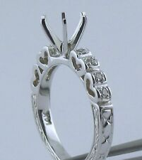 Heart Shape & Engrave Style Semi Mount Diamond RIing14K White Gold 1/2Ct to 2Ct