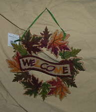 MAPLE LEAF WELCOME WOODEN HARVEST THANKSGIVING FALL WREATH DECORATION PLAQUE