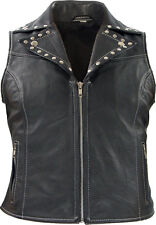 Damen Lederweste Nieten Biker Rockabilly Country Rocker Lady Leder Kutte Weste
