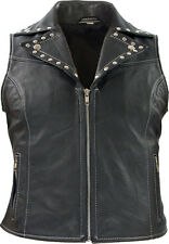 Femmes Gilet cuir rivets Motard rockabilly country rocker Lady cuir blouson gilet