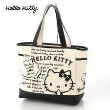 Hello Kitty Canvas Tote Shoulder Bag Handbag Purse Black Sanrio from Japan T3259