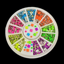 100Pcs Neon Color 3D Nail Art Decoration Metallic Stud Stickers