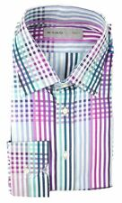 New ETRO Milano Pink Blue Plaid Striped Cotton Dress Shirt 17.5 44 XL NWT $395!