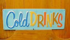 Vintage Style Tin Retro Cold Drinks Advertising Kitchen Sign New