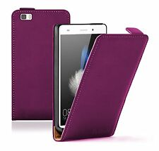 Ultra Slim PURPLE Leather Flip Case Cover Pouch For Mobile Phone Huawei P8 Lite