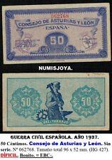 RARO BILLETE Guerra Civil Española. Asturias y León 50 centimos 1937. Nº 062768