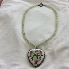 Antique Porcelain H.Painted Pendant  Celedon Jade  Bead Chinese Necklace