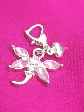 Pink Rhinestone Dragonfly And Heart Clip On Charm. Bracelet Or Purse Gift