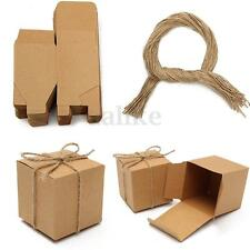 50pcs Kraft Brown Shabby Chic Square Sweets Candy Gift Boxes Wedding Party Favor