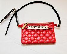 NEW Michael Kors Studded Logo Women Leather Belt Small Red Bag Purse, Size M