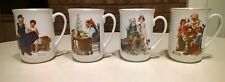 1982 Set of 4 Norman Rockwell Porcelain Cappuccino Coffee Cups Mugs Collectible